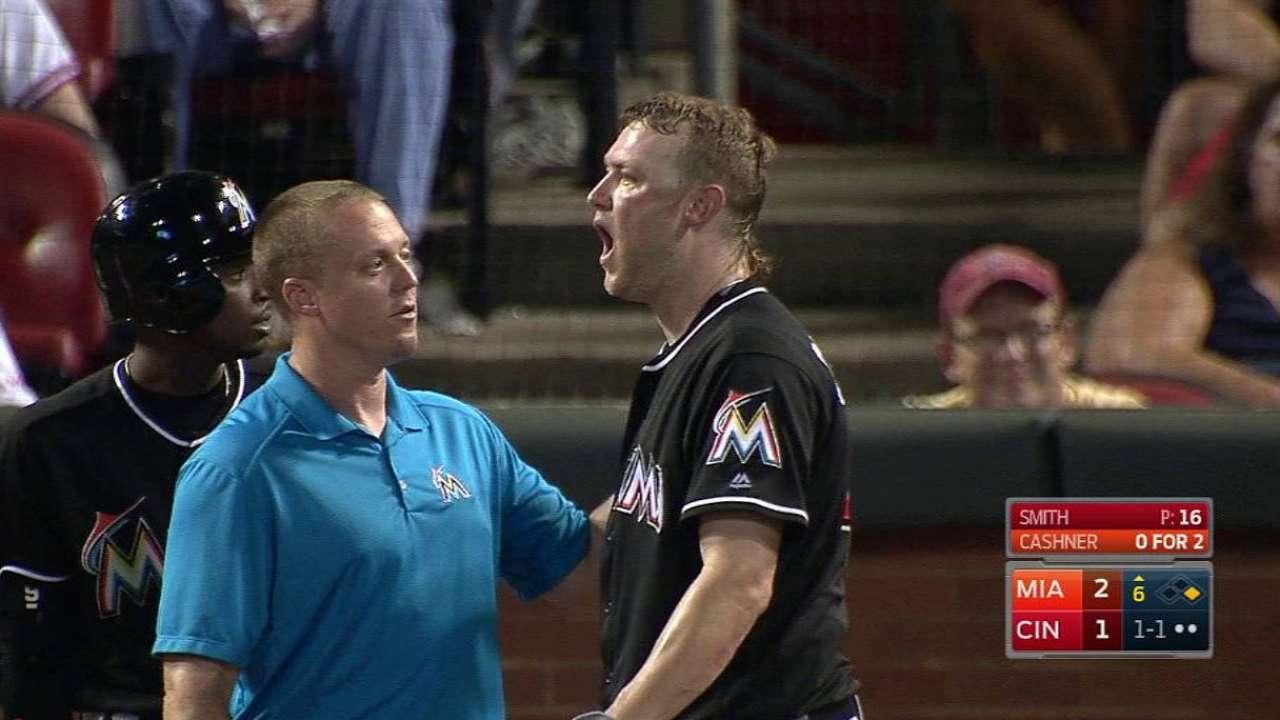 Cashner's bunt foul off his face