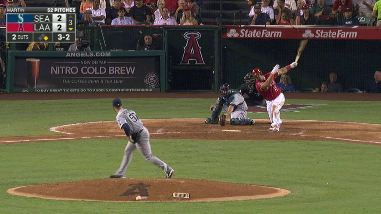 C. Martin strikes out Pujols