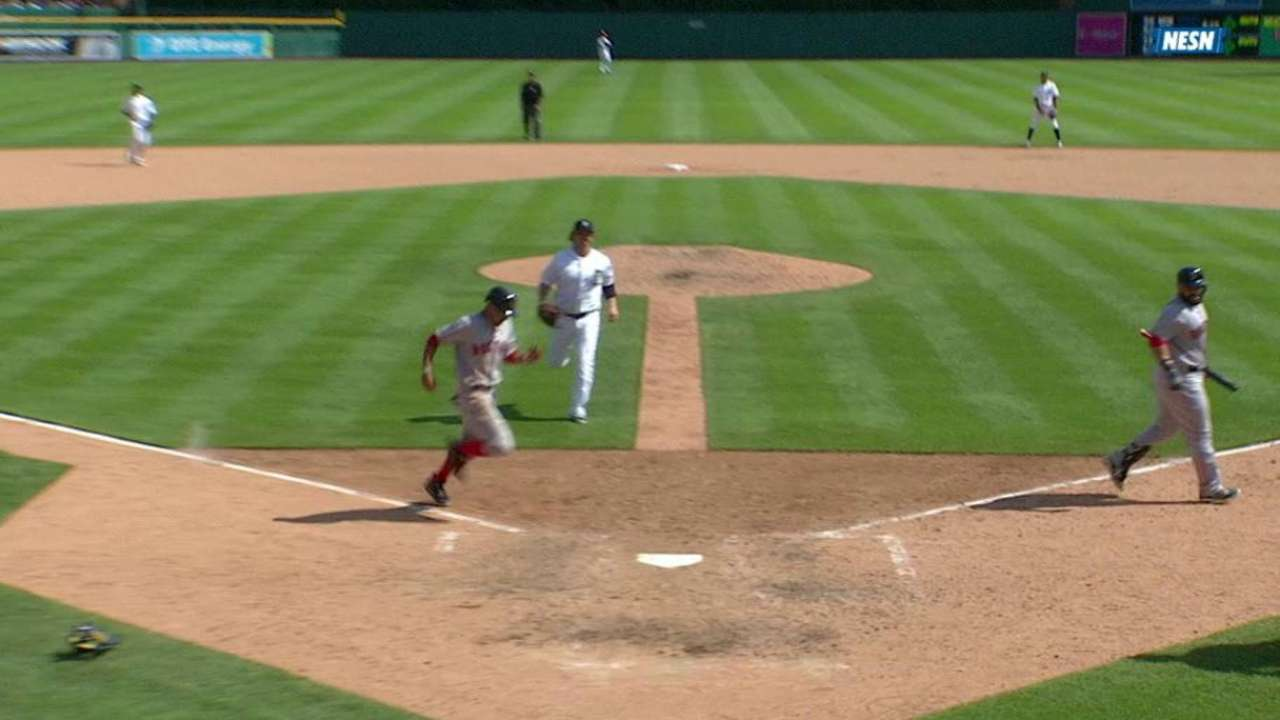 Betts scores on a wild pitch