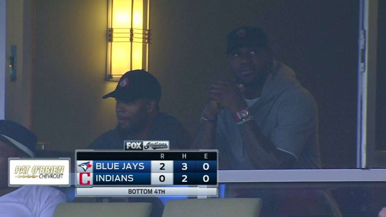 Lebron attends Indians' game