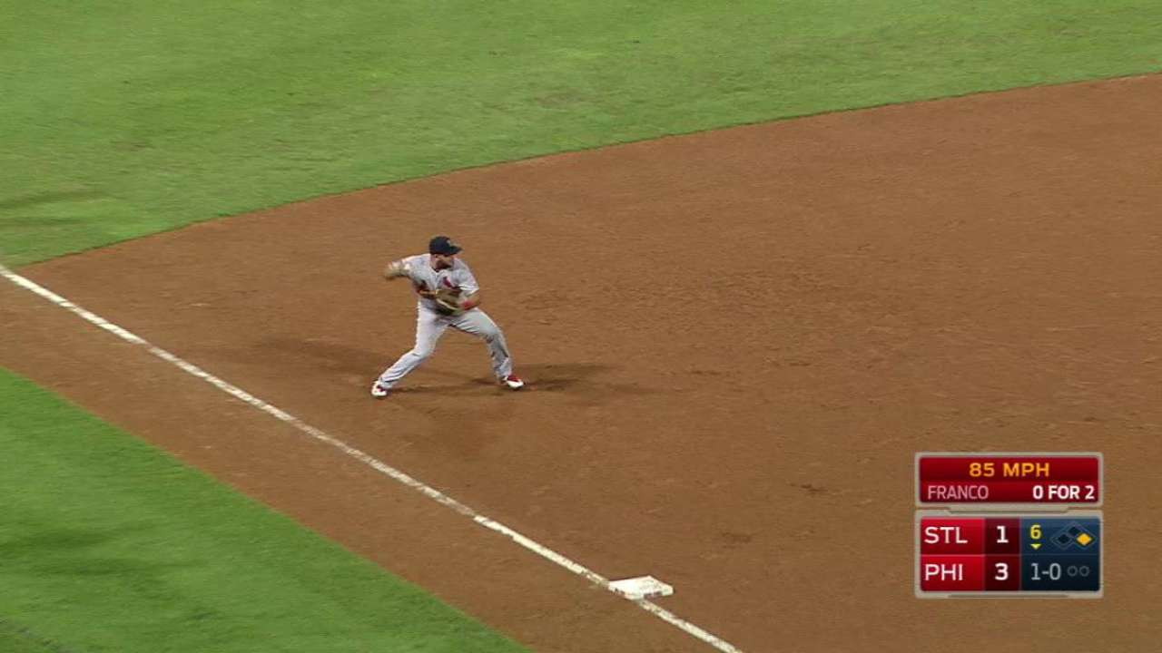 Peralta starts a double play