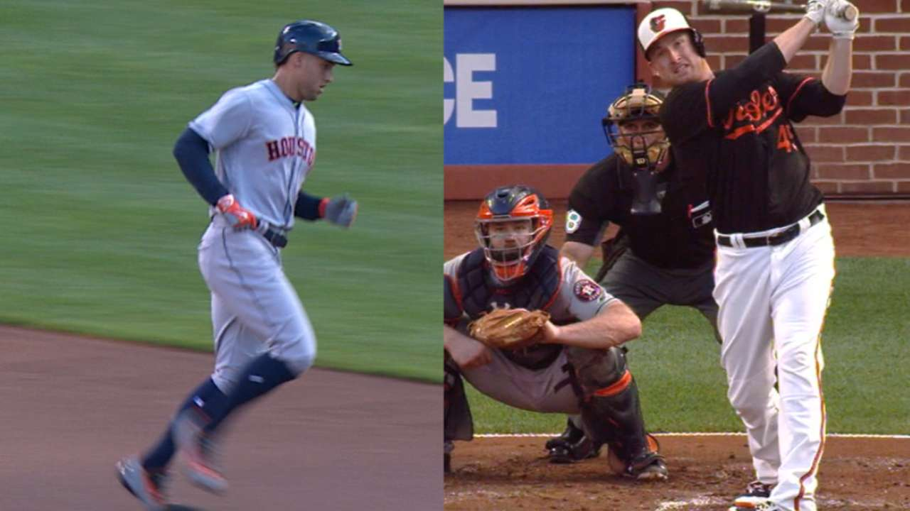 Astros and O's belt nine homers