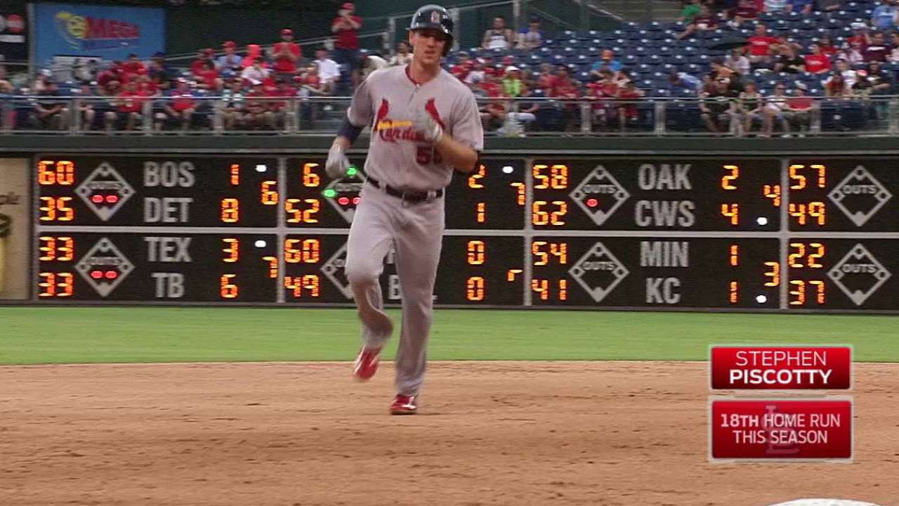 Leake Strong, Cardinals Hit 4 Homers to Rout Phillies