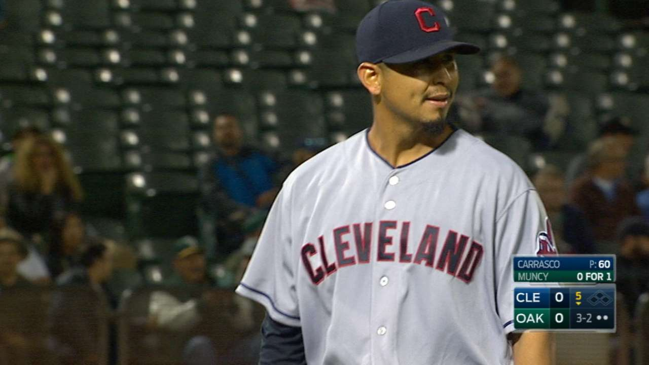 Carrasco overpowers the A's