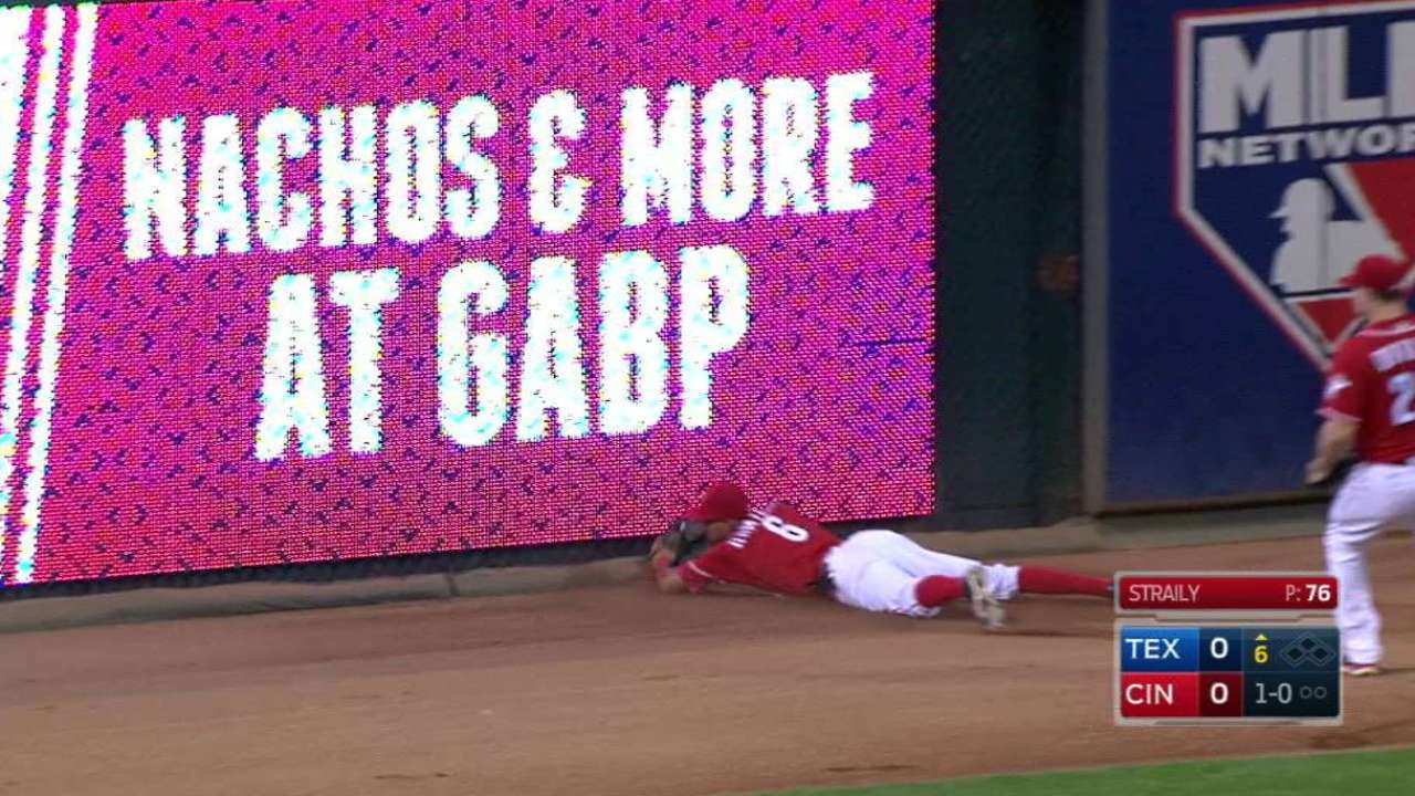 Reds' Hamilton reaches 22 mph on diving catch