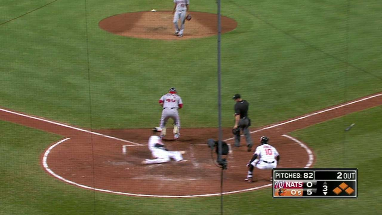 Davis hits 30th, but O's rout Nats with small ball