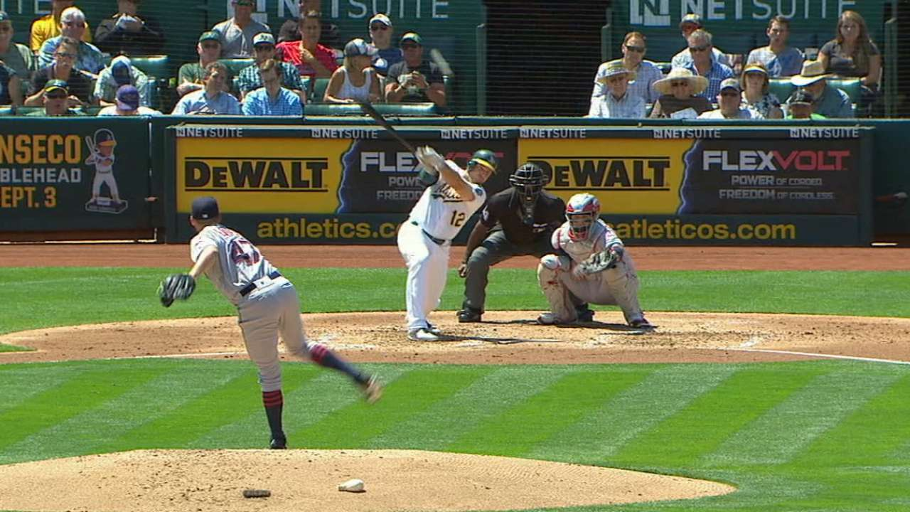 Athletics' five-run 2nd inning