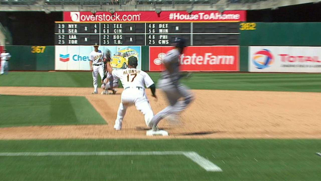 A's double play stands