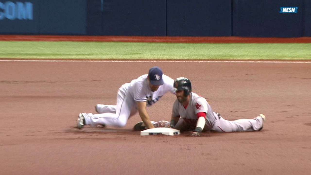 Pedroia's steal survives review