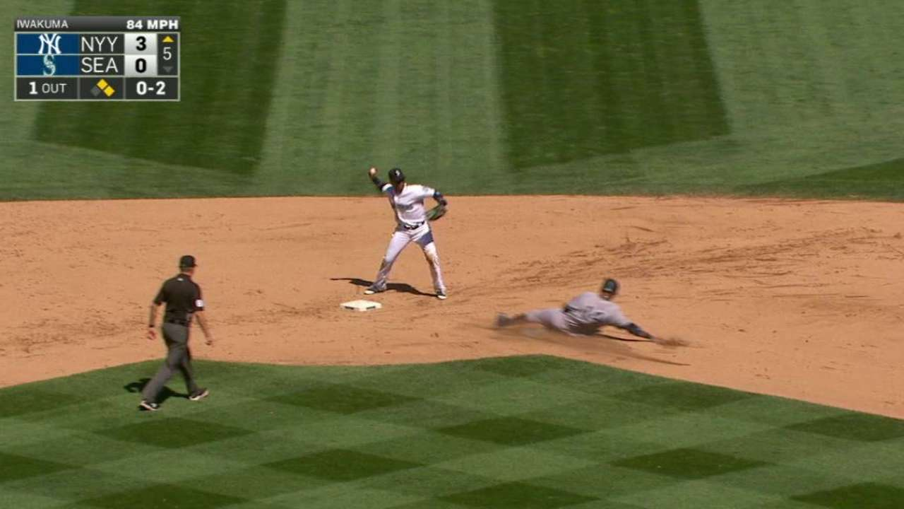 Marte begins a double play