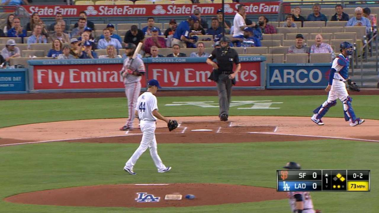 Hill's first strikeout as Dodger