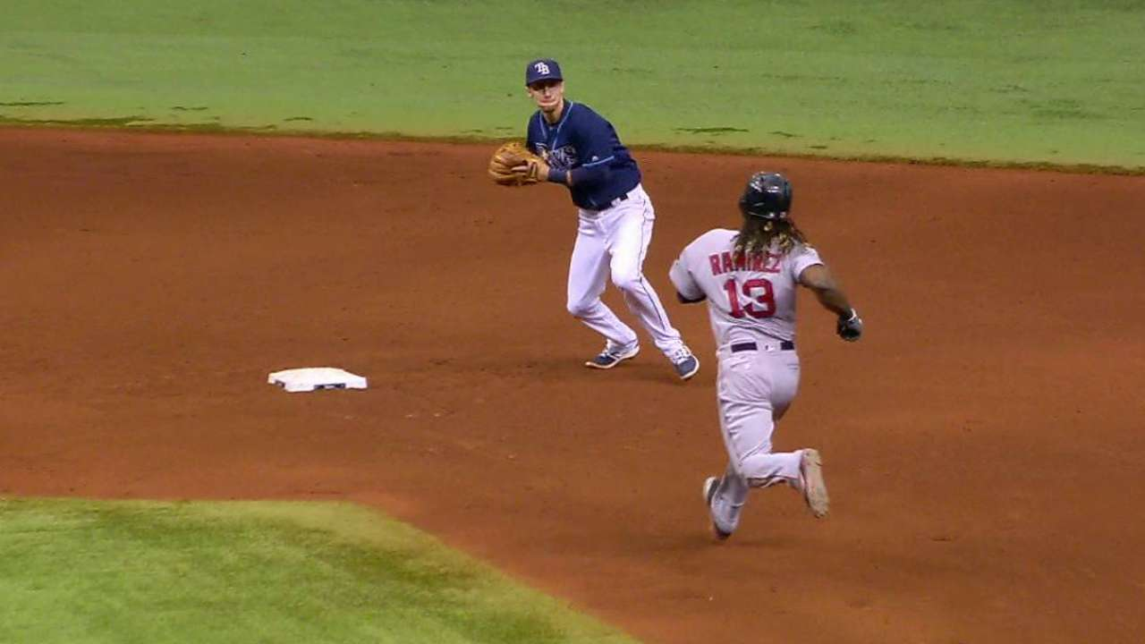 Rays turn DP with bases loaded