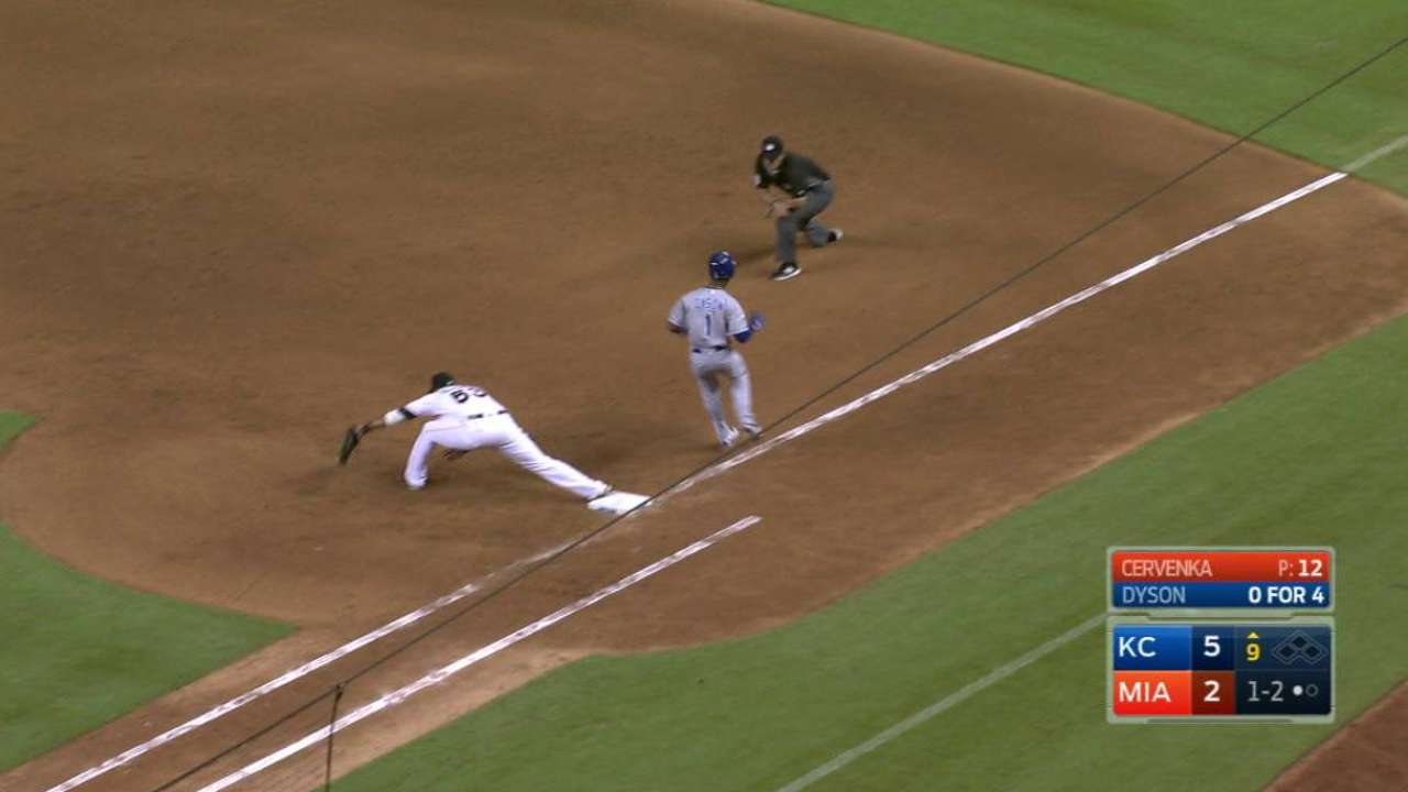 Dyson's second infield hit