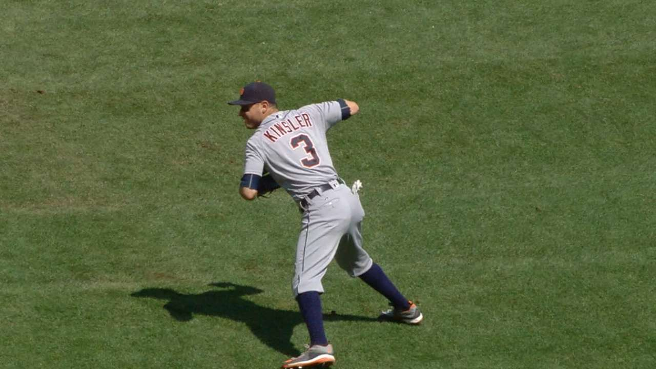 Kinsler shows off glove skills
