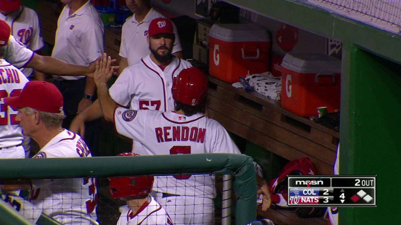 Rendon scores on double play