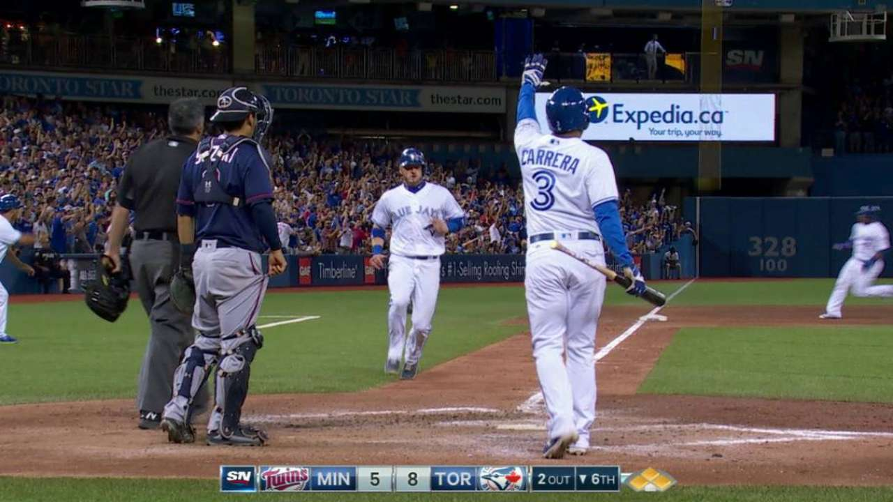 Blue Jays alone in first with offensive outpouring