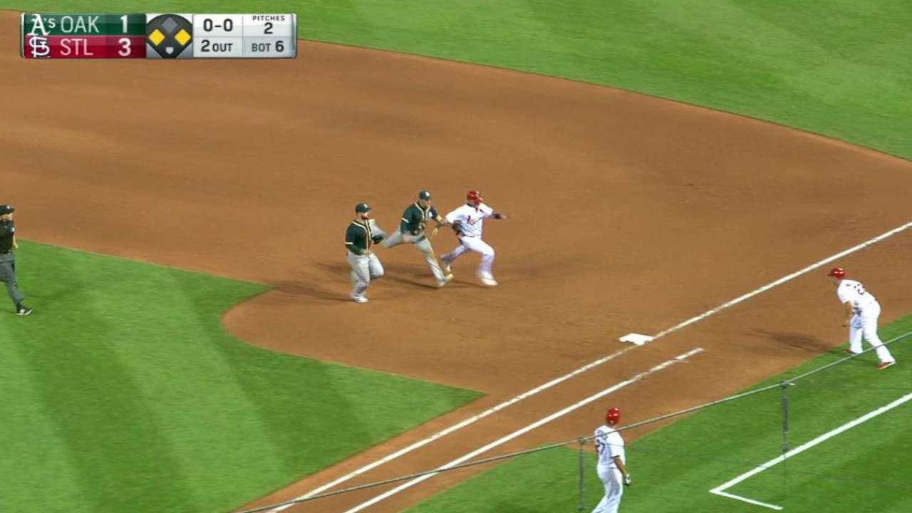 Crisp's double play on sac fly