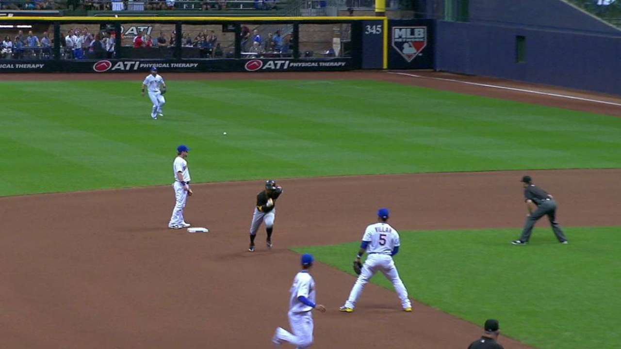 Polanco reaches on error