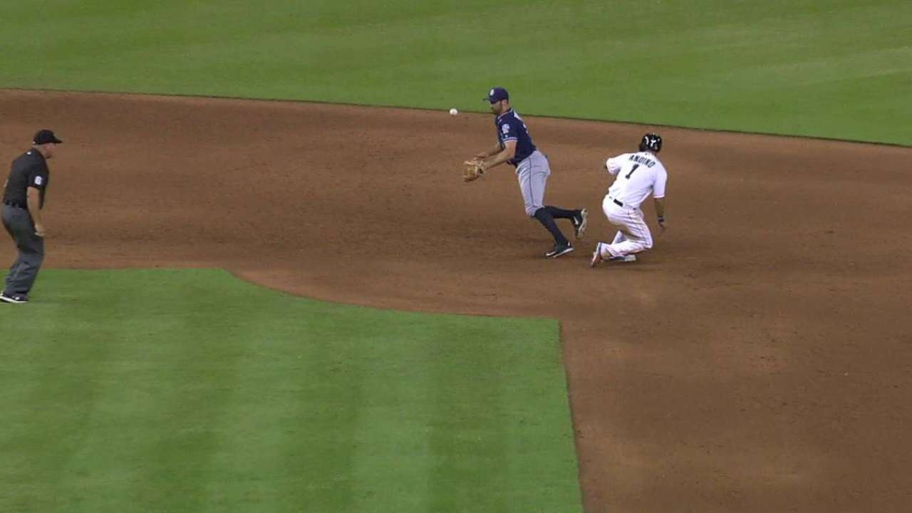 Andino safe at second in 8th