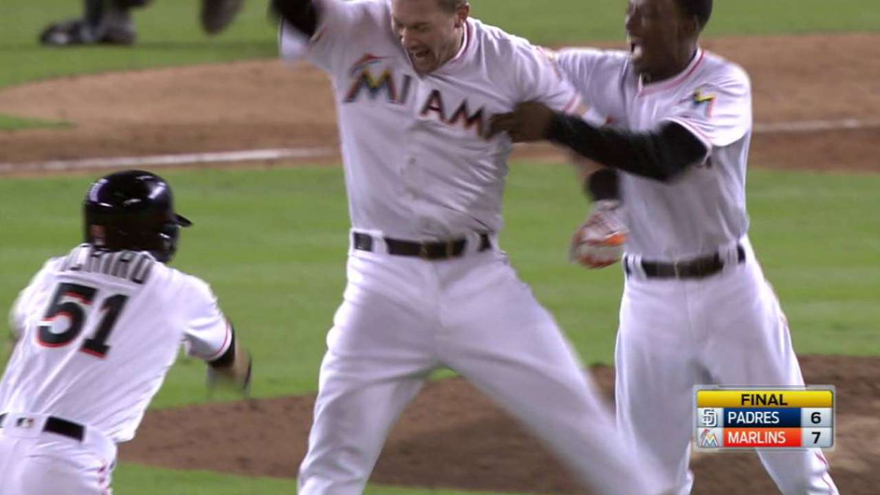 Johnson's walk-off hit lifts Marlins over Padres