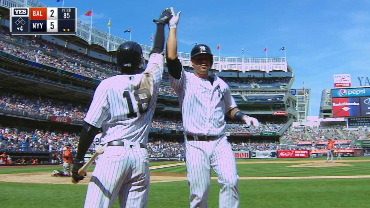 Sanchez shows off arm, bat