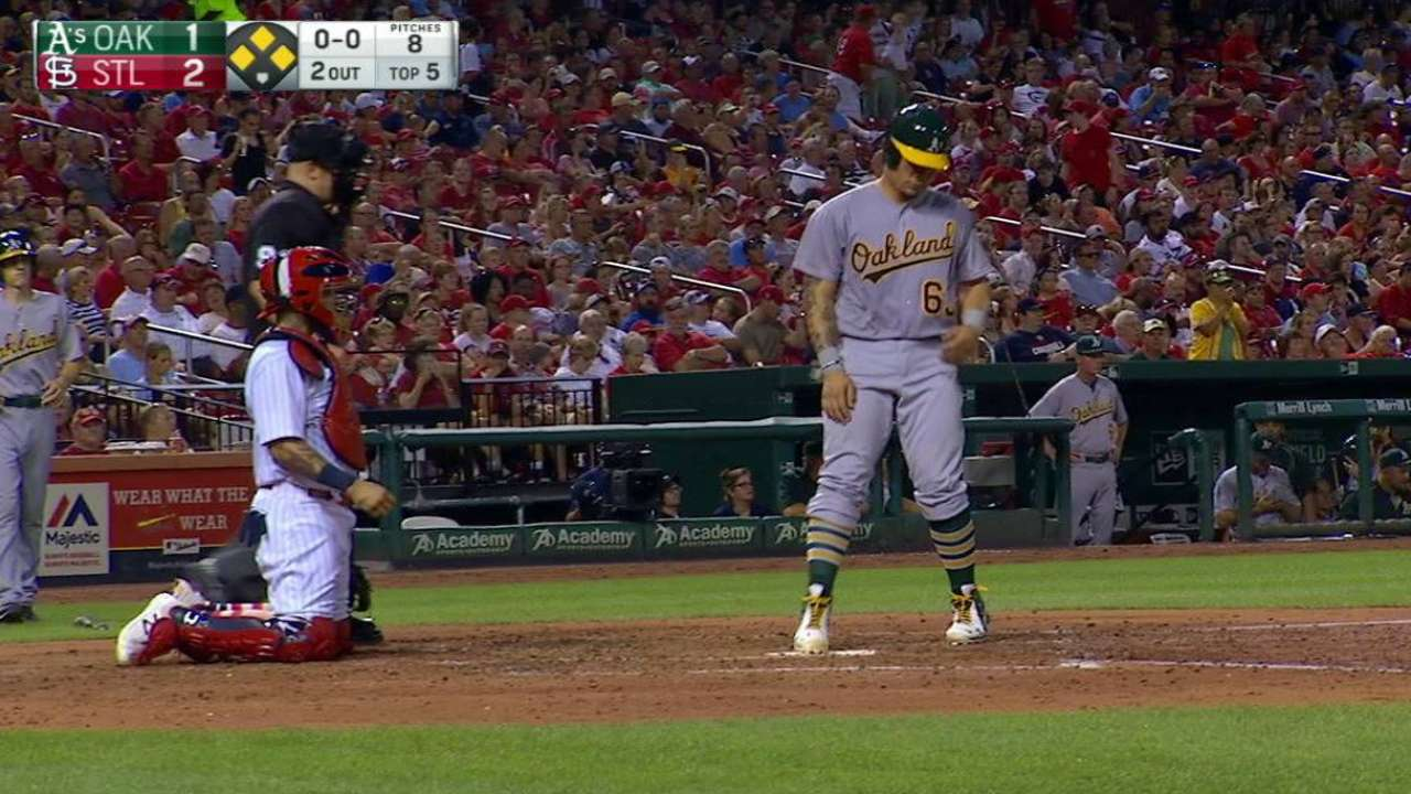 A's break through in 8th to top Cardinals