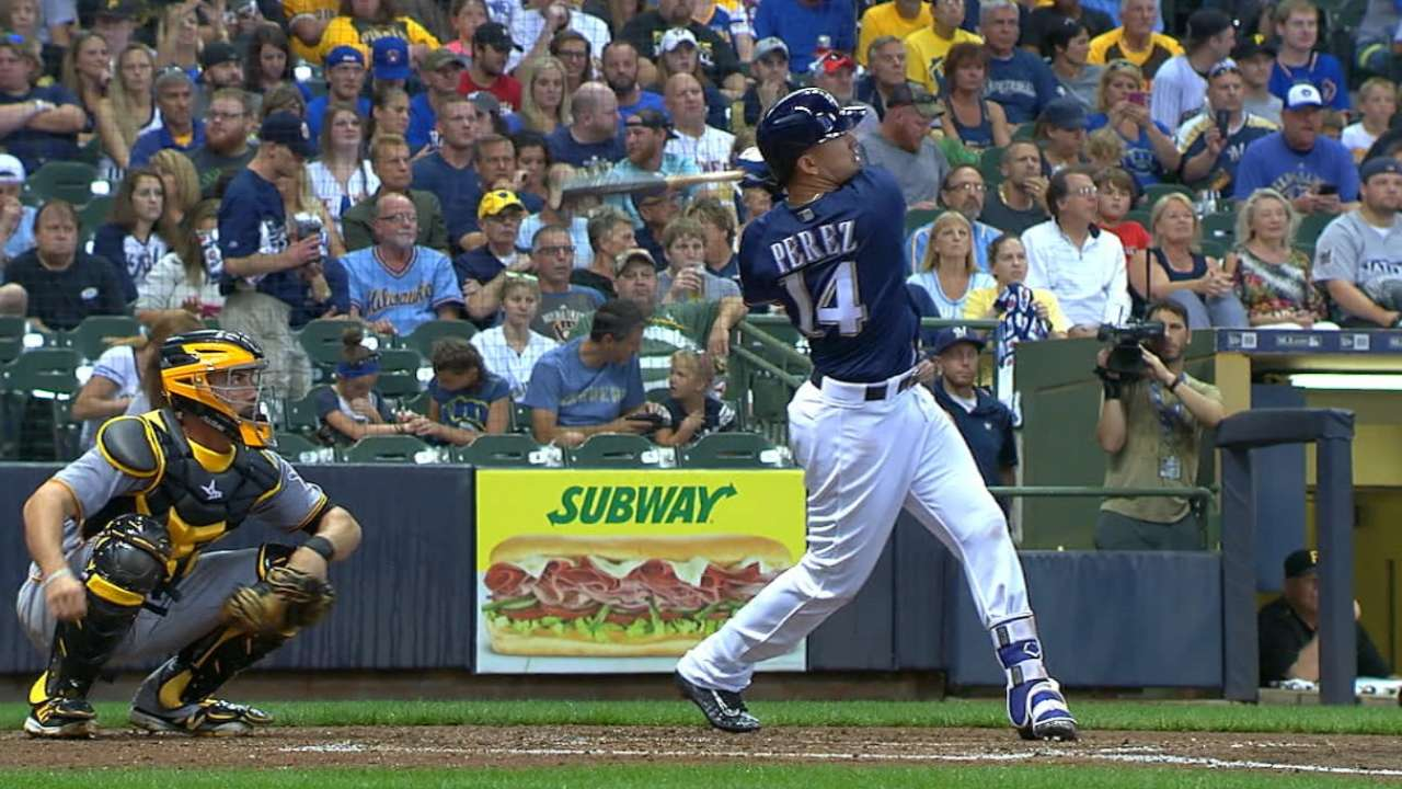 Perez to start Brewers' Cactus opener in LF