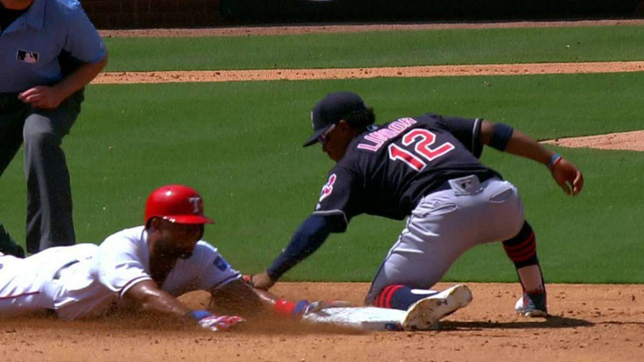 Andrus swipes second base