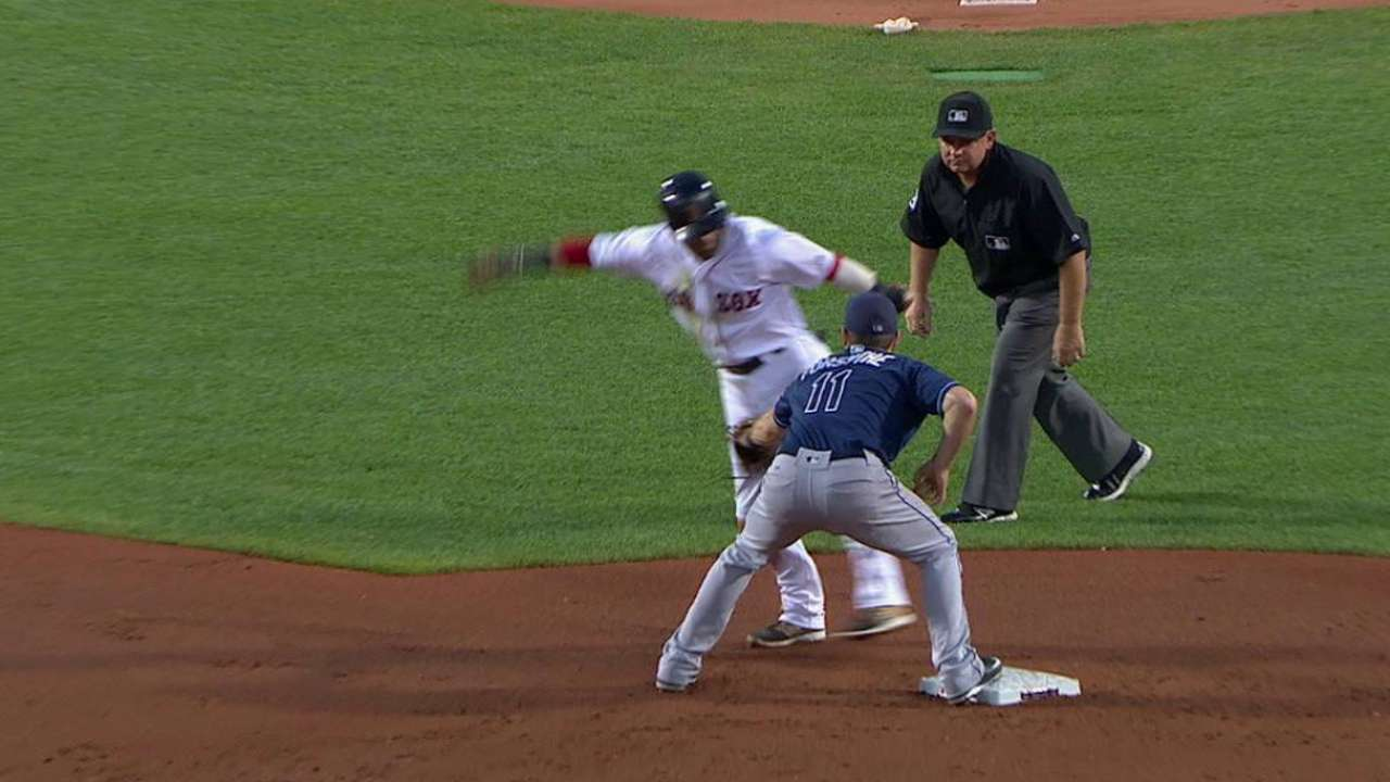 Rays turn a double play