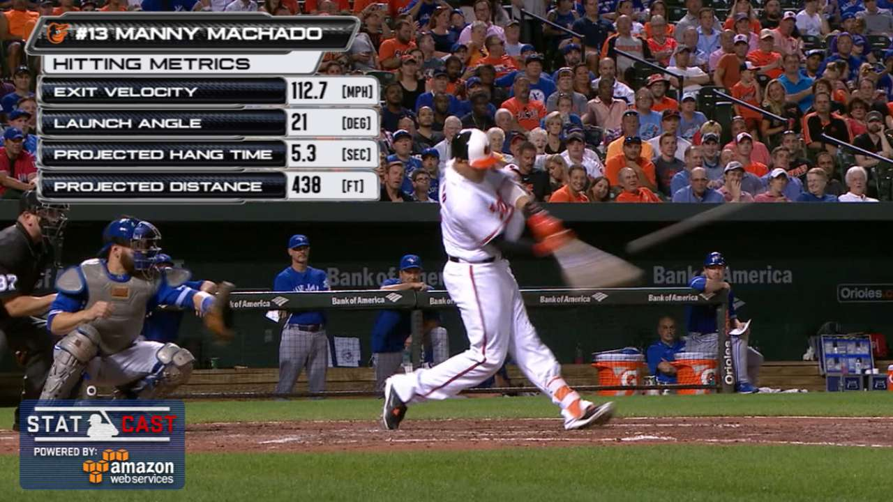 Machado youngest O's player to 100 homers