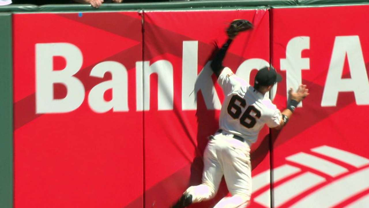 Giants fill-in Gorkys robs Goldy at the wall
