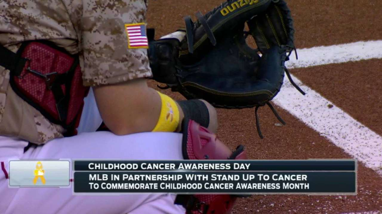 Players wear gold wristbands