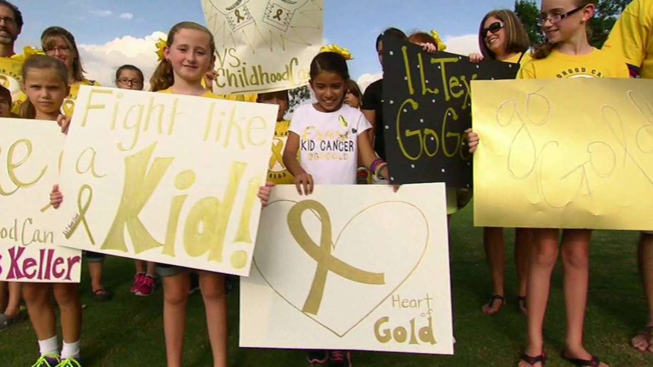 Gold ribbons for kids' cancer