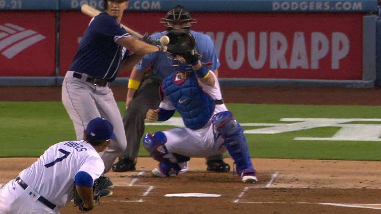 Padres challenge, Dickerson hit