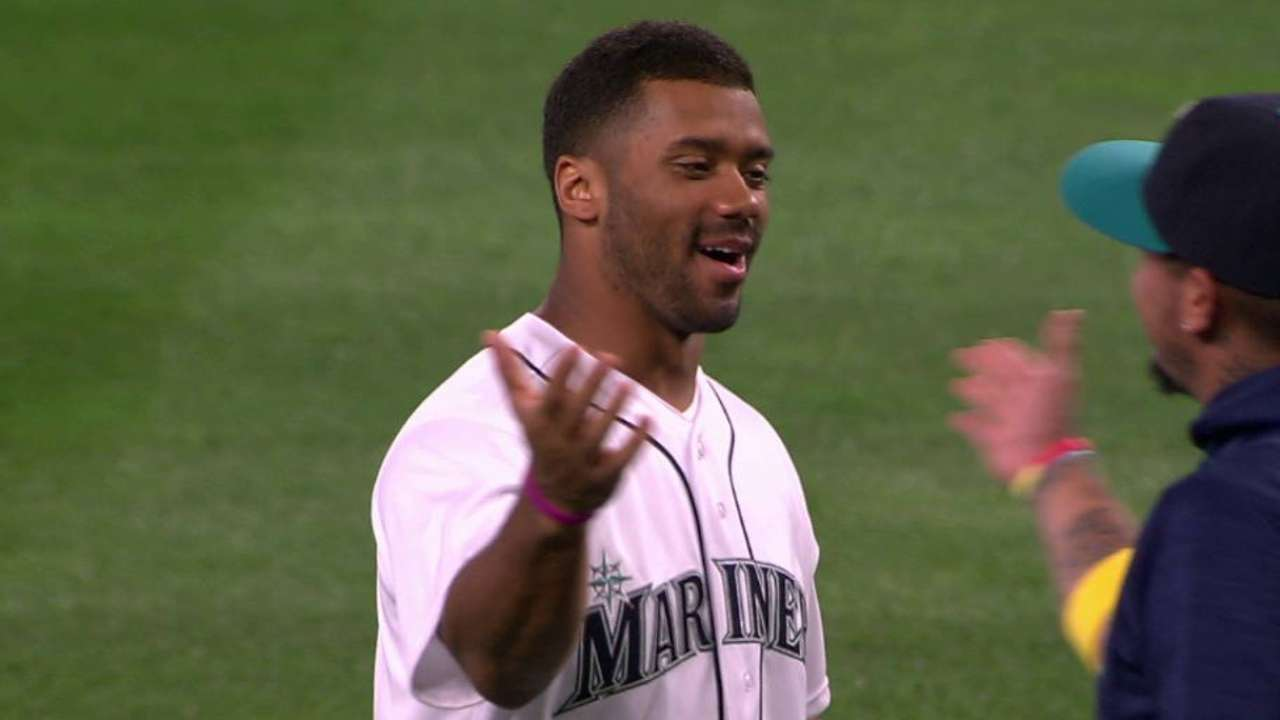 Russell Wilson's first pitch