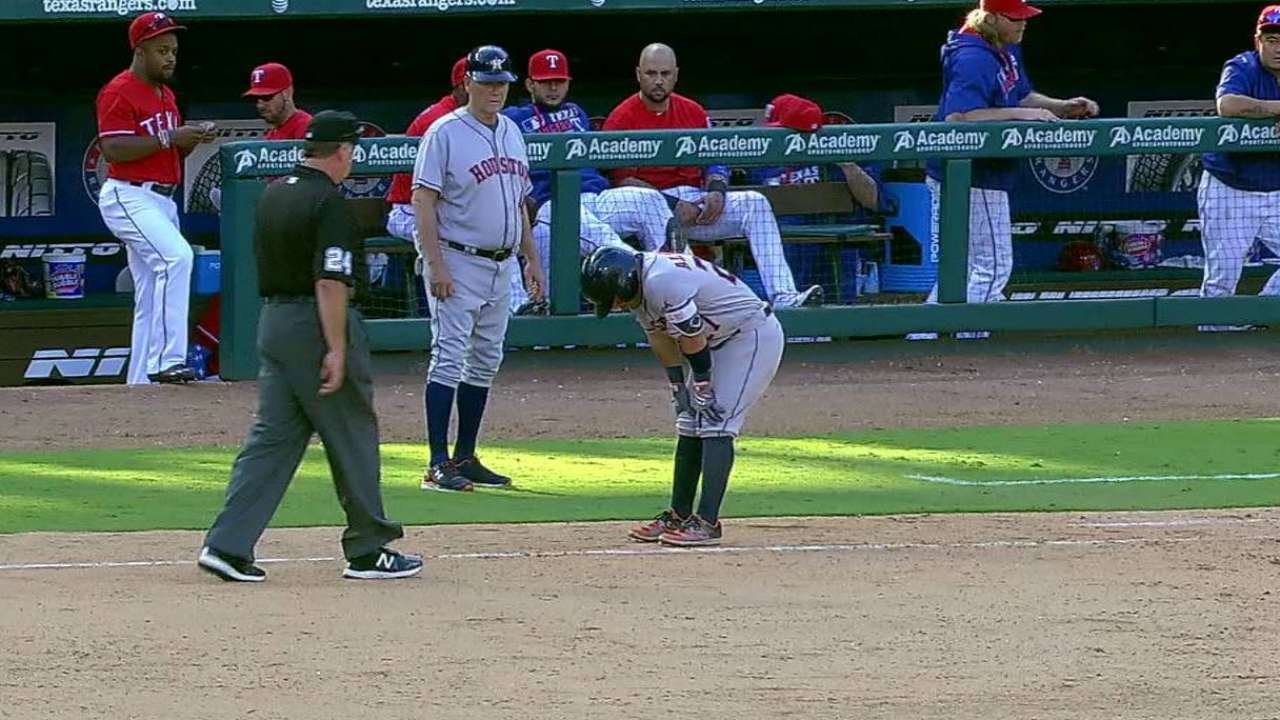 Altuve day to day after hurting calf on last play