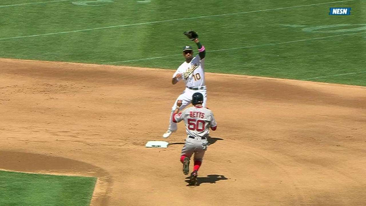 Red Sox challenge out at second