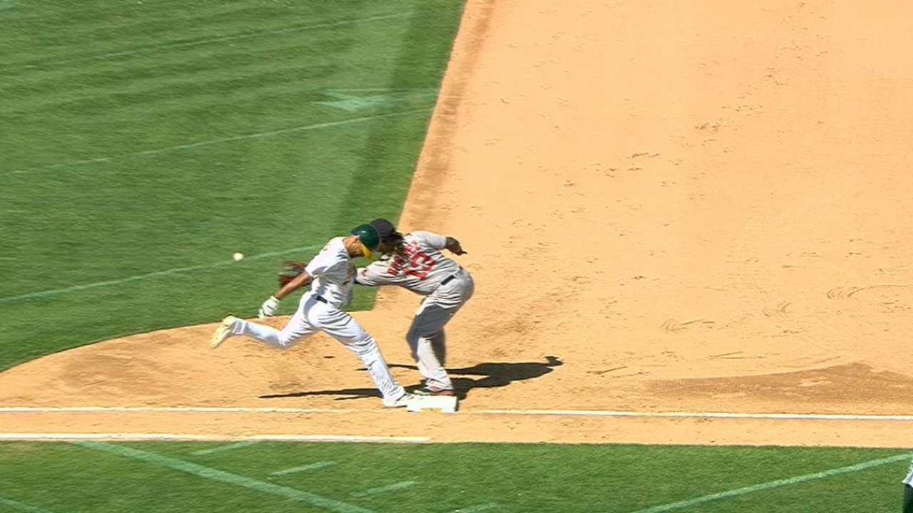 Semien notches the first hit