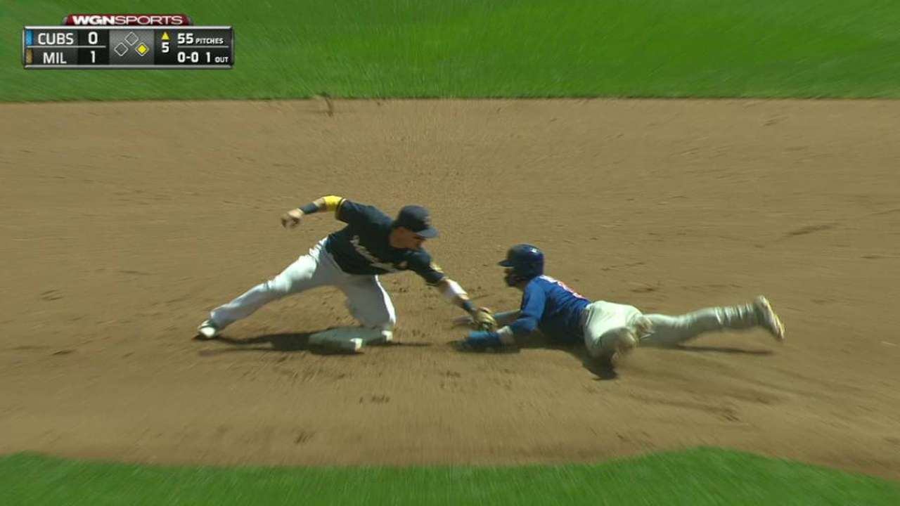 Braun turns a double play