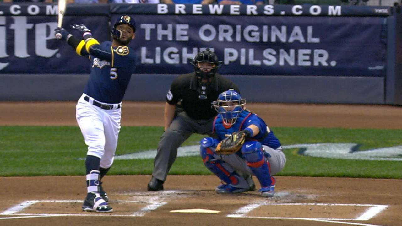 Brewers plate five in the 1st