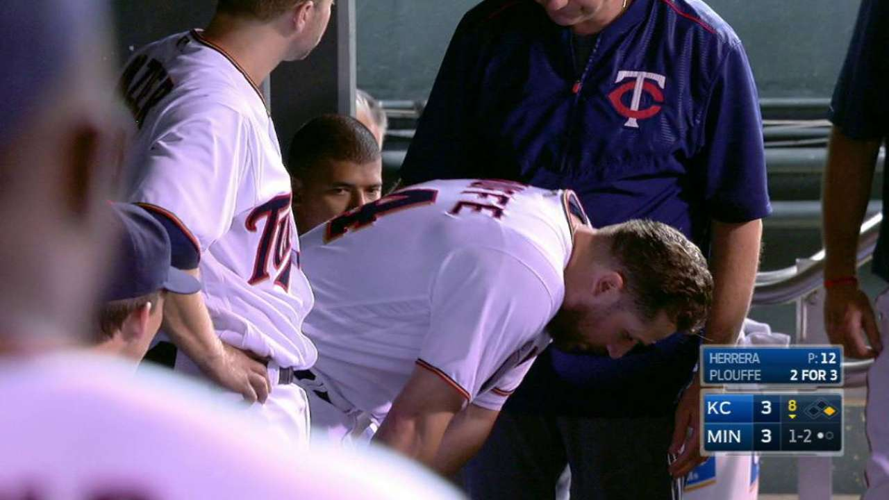 Plouffe leaves the game