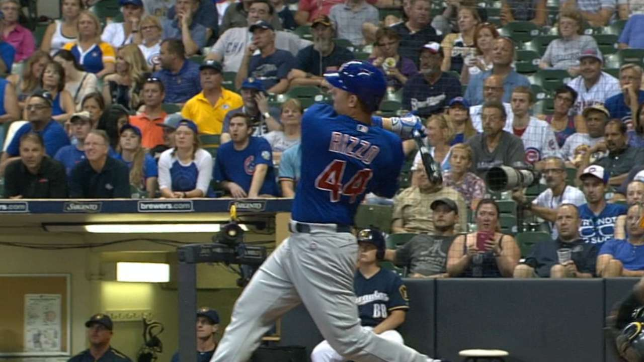Rizzo's two homers vs. Brewers