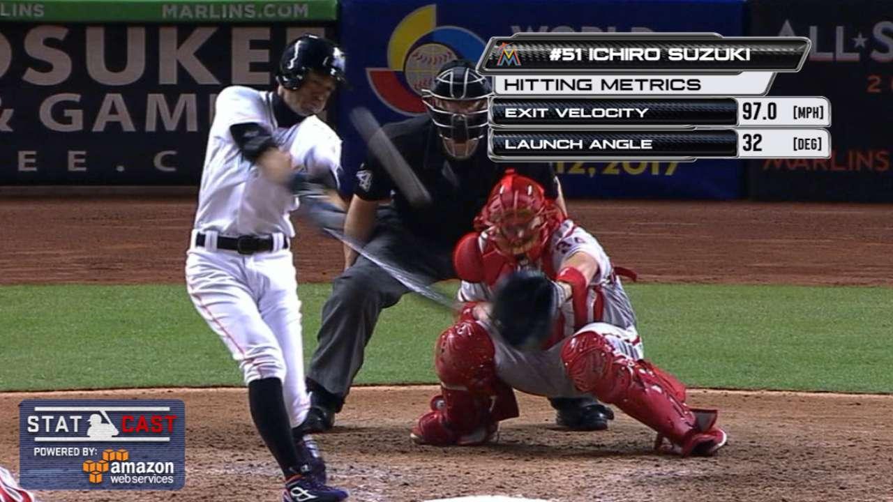 Ichiro gets 3,019th hit, first pinch-hit homer