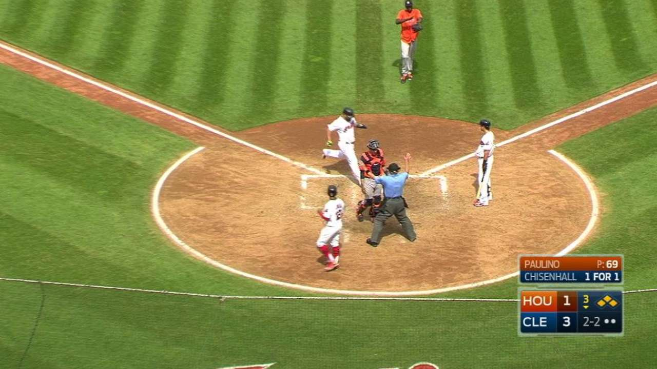 Indians score two on wild pitch