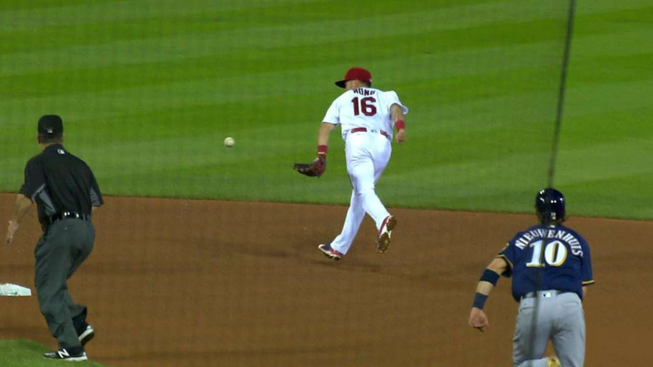 Wong starts a double play