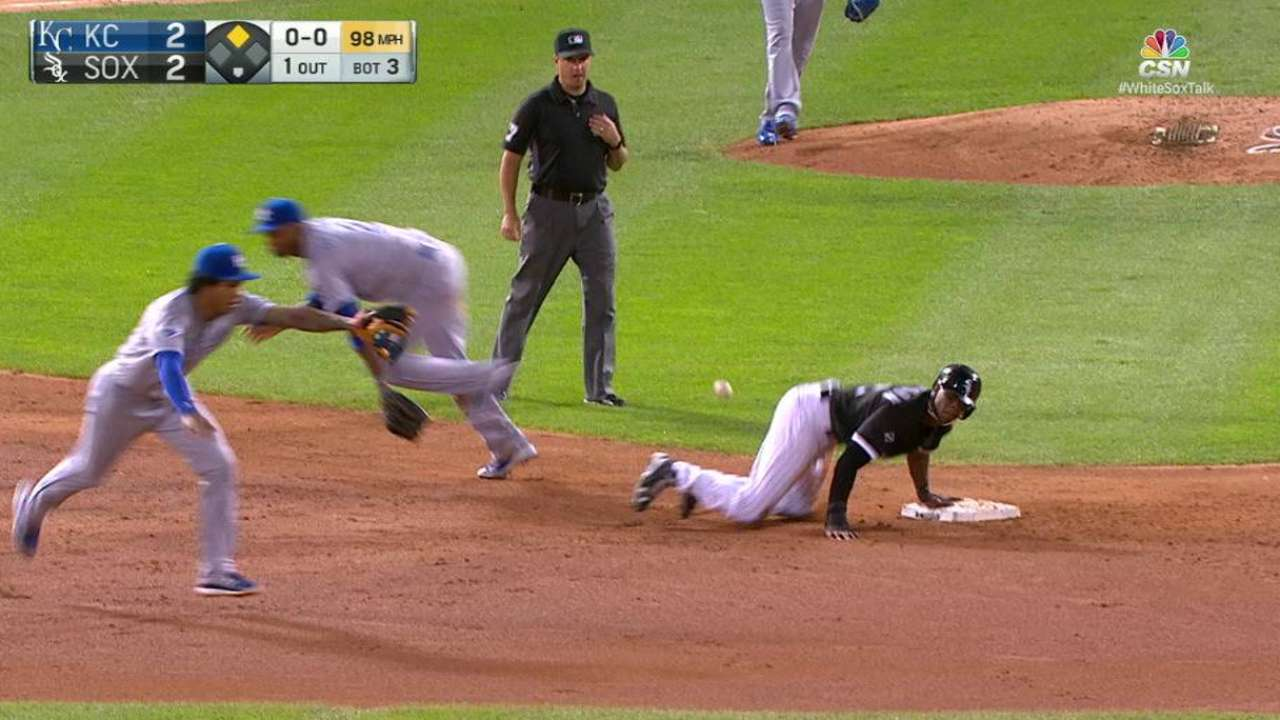 Anderson steals second base