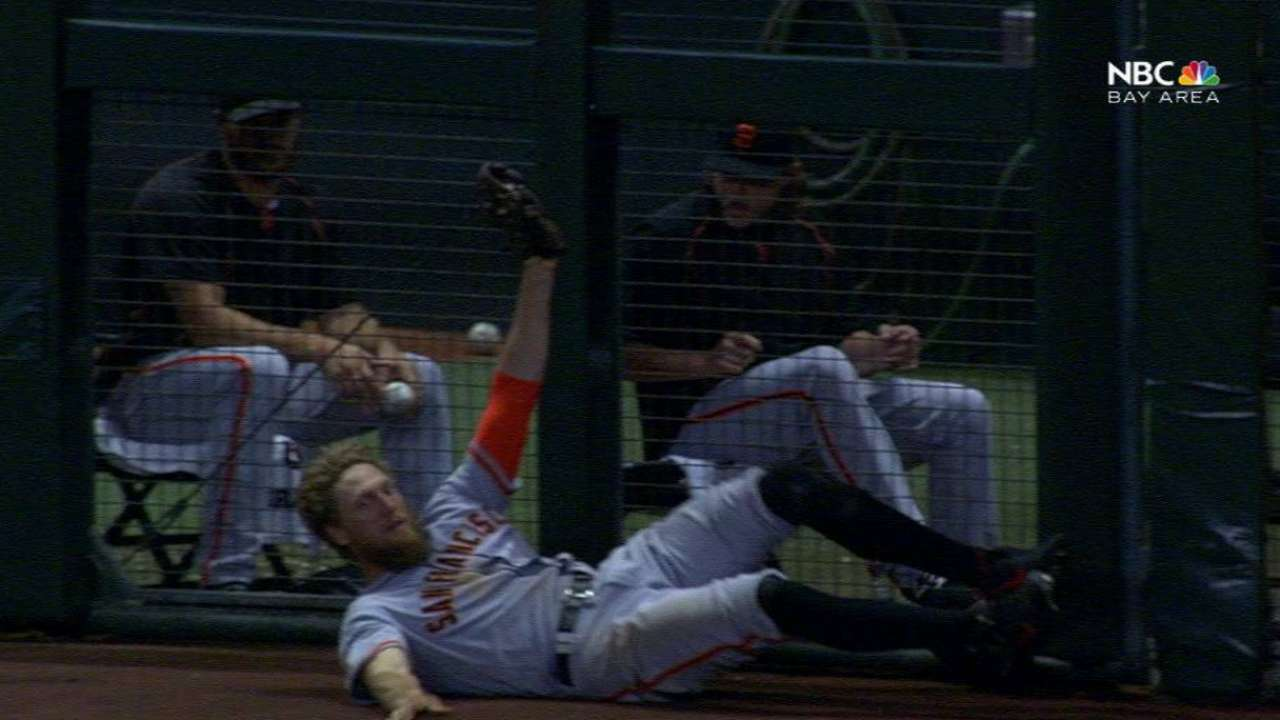 Pence's diving catch