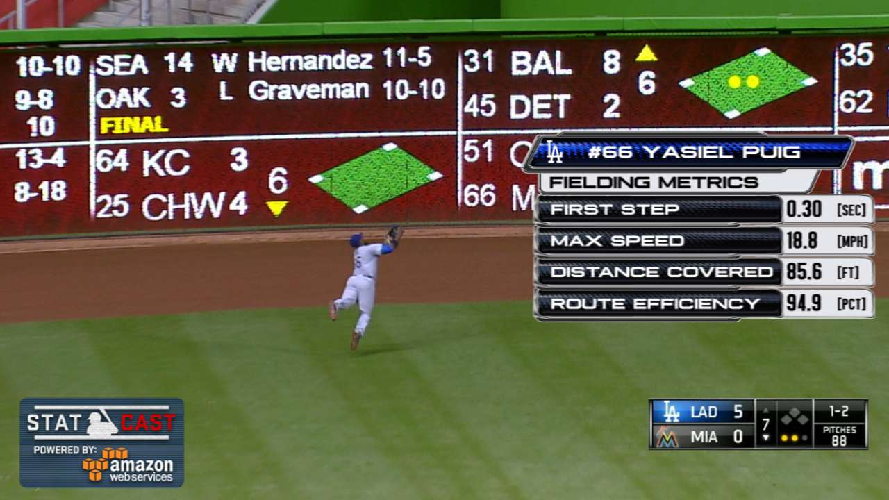 Puig's incredible catch preserves perfection bid