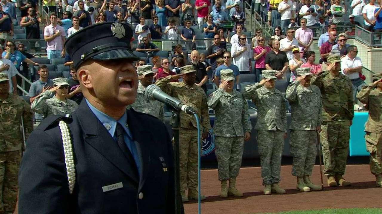 FDNY firefighter sings anthem