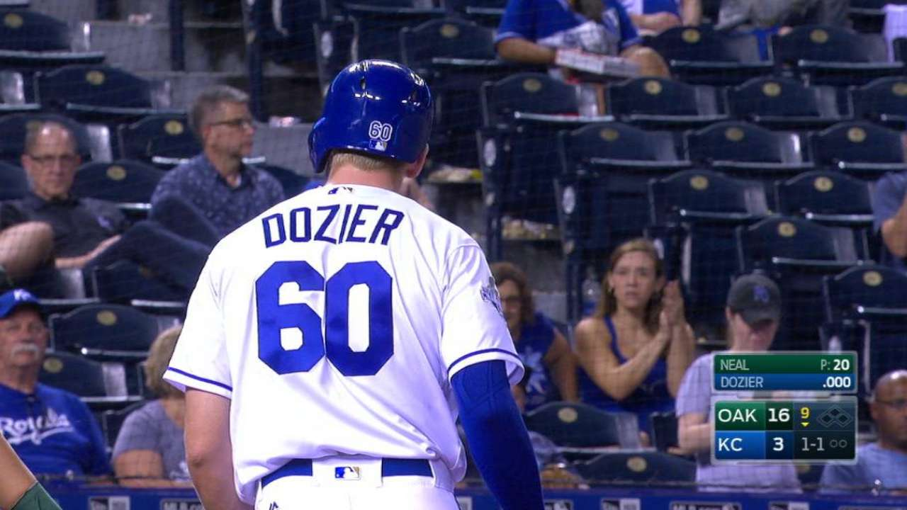 Excited Dozier makes MLB debut for Royals
